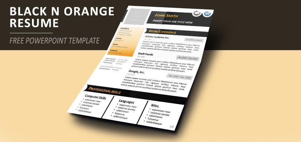 Powerpoint Resume Black N Orange Curriculum Vitae Template For Powerpoint  Resume