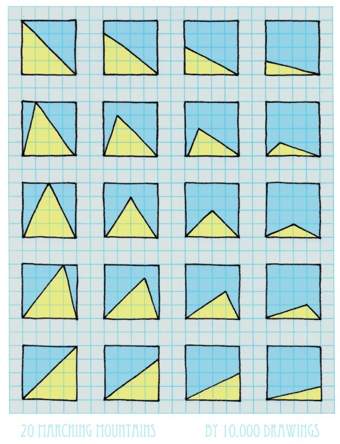 20 Marching Mountains Art Print. Colorful doodle drawn using the ...
