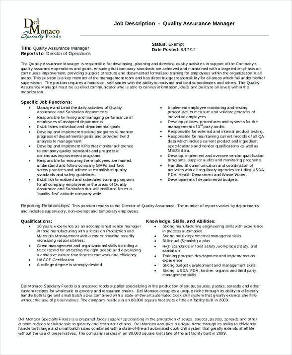 Quality Assurance Manager Job Description , Quality Assurance - senior manager resume