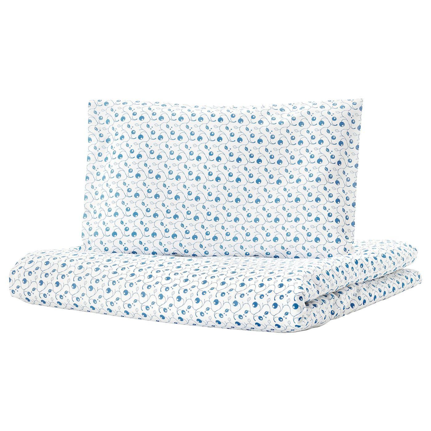 Ikea Gulsparv Crib Duvet Cover Pillowcase Blueberry Patterned