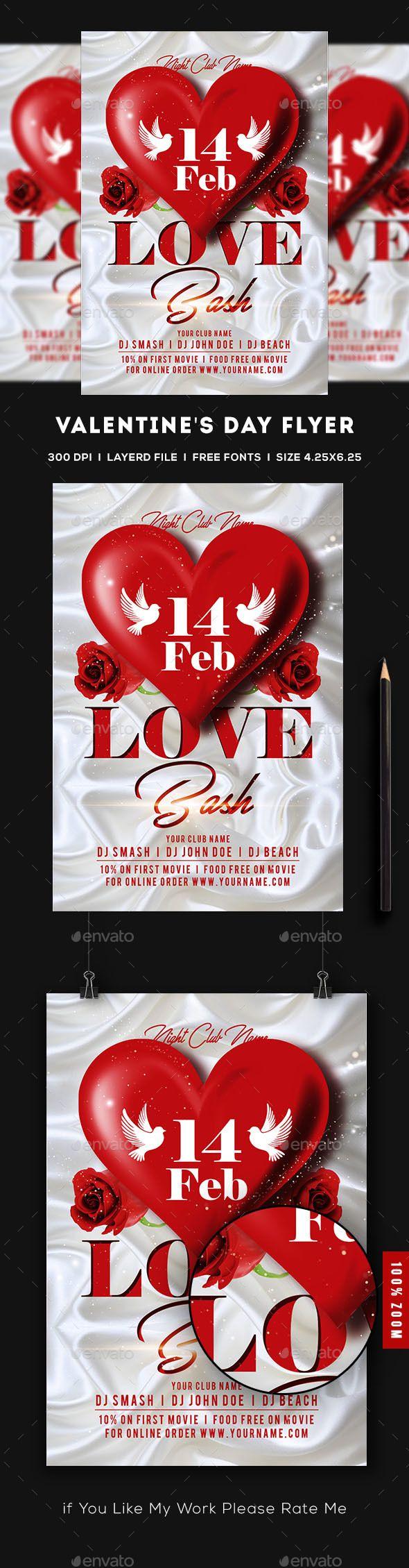 Valentines Day Flyer Flyers Print Templates Flyer Pinterest