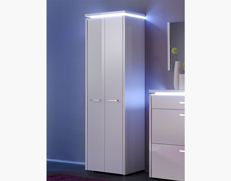 Luce 2 Door Tall Cabinet With Optional Shoe Storage In White High Gloss And Frame Led
