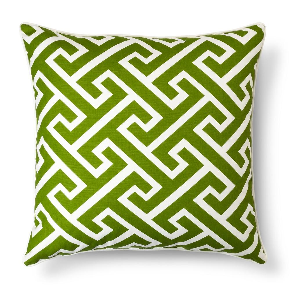 Oversized greek key toss pillow green