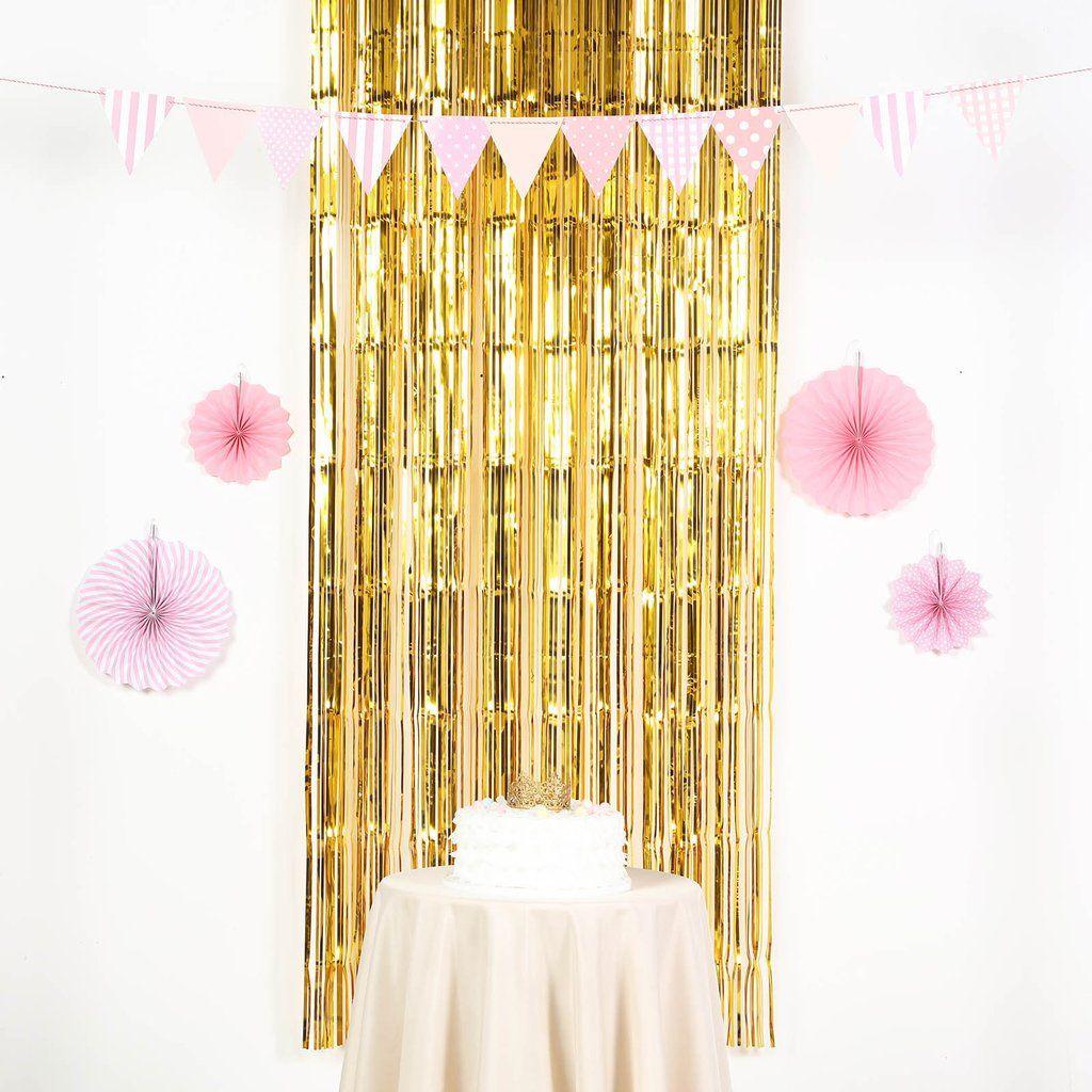 8ft Gold Metallic Foil Fringe Curtain Streamer Backdrop Photo