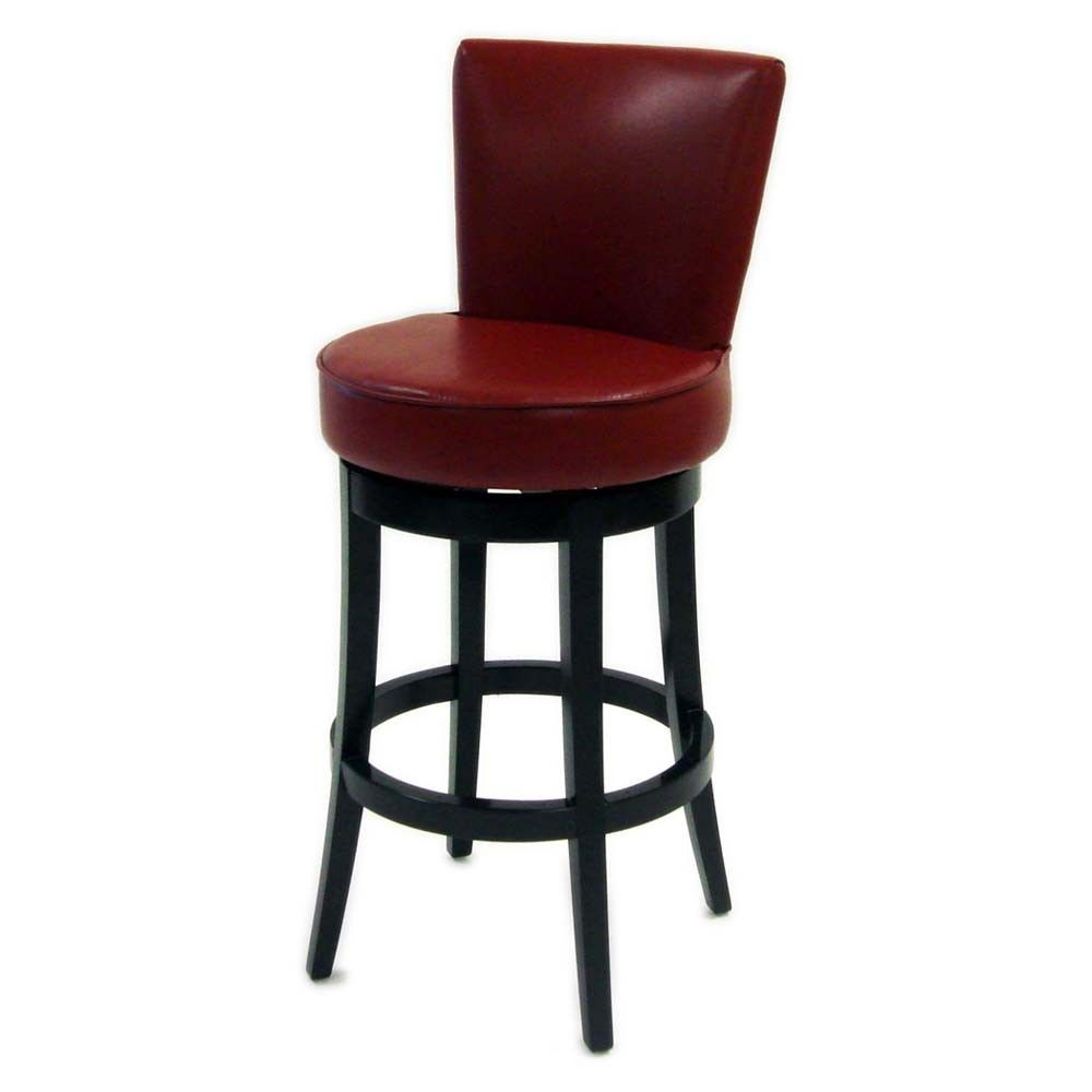 Armen Living Boston 26 Red Leather Counter Stool Leather Swivel Bar Stools Bar Stools Swivel Bar Stools