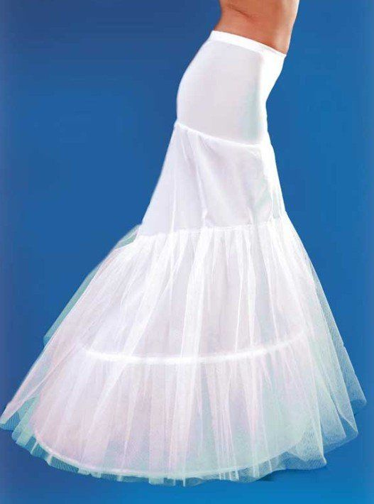 Free Ship 2 Hoops Layers Bridal Dress Mermaid Petticoat Wedding Underskirt Slip Bustle Elastic Waist