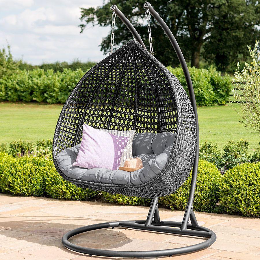 Maze rattan rose hanging chair grey flat weave hanging