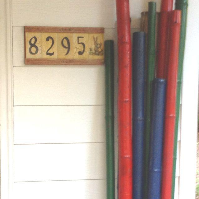 Painted Bamboo Painted Bamboo Painted Sticks Garden Art