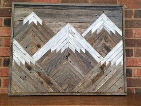 Rustic Mountain Tops Single Piece Reclaimed Wood Wall Art