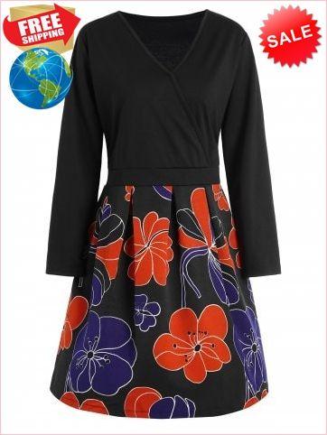 26f61077307 Best Prices Plus Size V Neck Floral 1166623 5skV0nUtTAIZioEhWz4D Cheap Sale   RoseGal.com