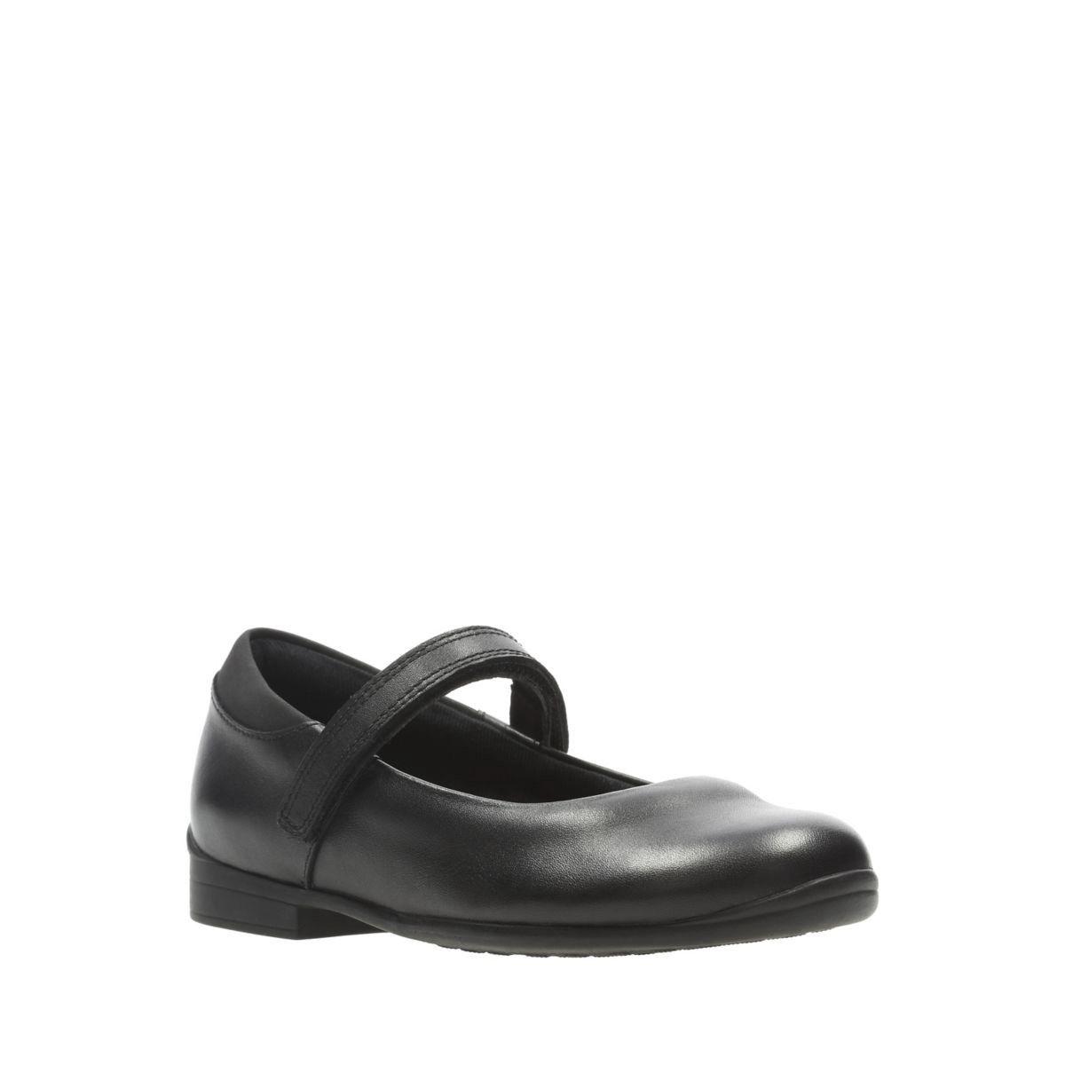 Clarks Girls /'Jamie Star/' Black Leather School Shoes
