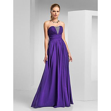 A Line Strapless Sweetheart Floor Length Chiffon Prom Formal Evening