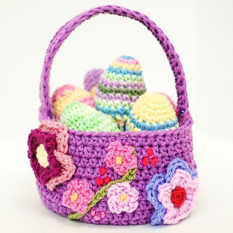 Free Easter Basket Crochet Pattern | Puntos crochet, Crochet ...
