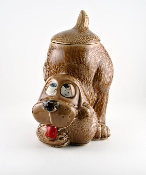 Mccoy Thinking Brown Dog Cookie Jar 0272 By Therealmcollectibles
