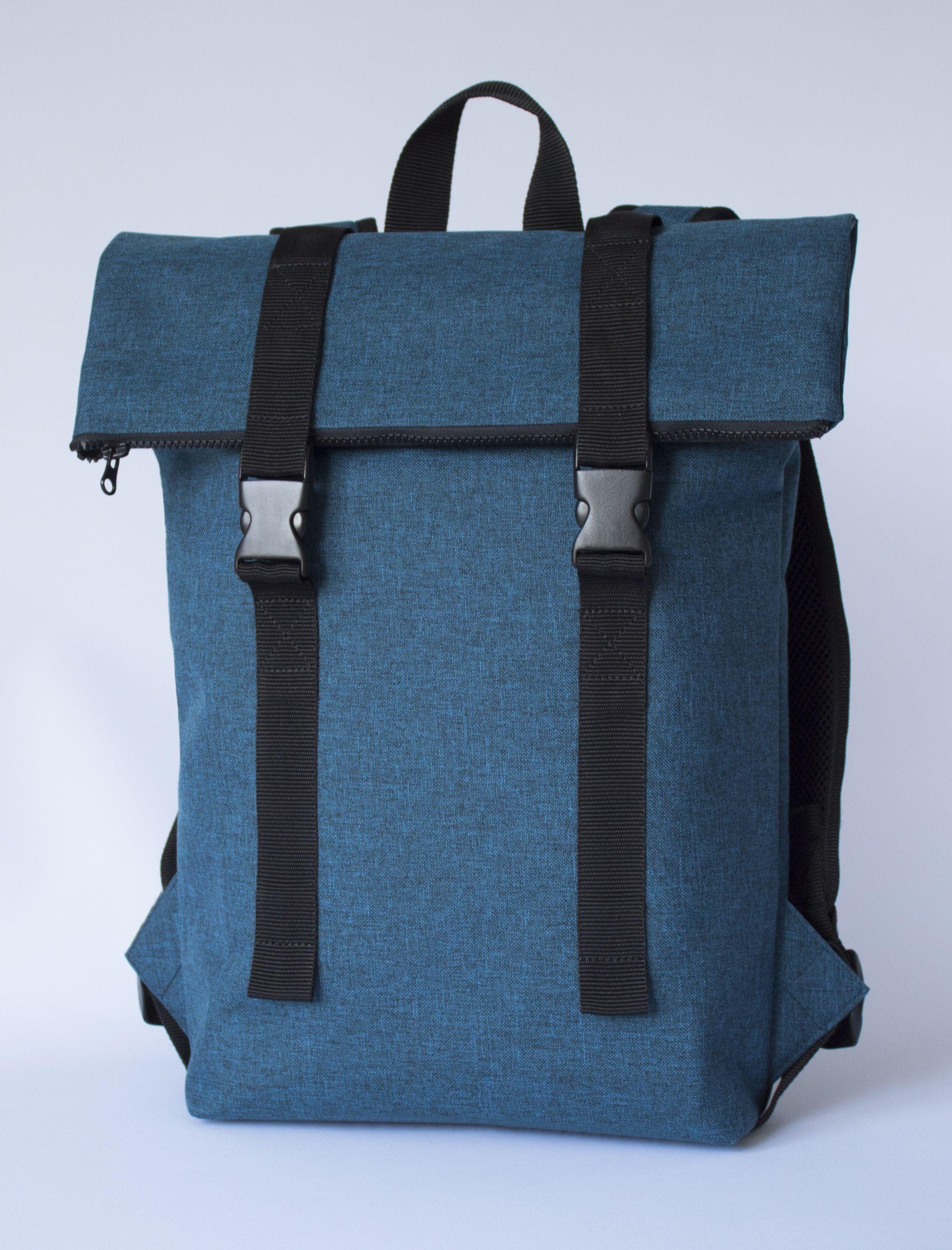 Blue Roll Top Backpack Waterproof Roll Top Backpack Rolltop Backpack Waterproof Fidlock Backpack Wasserdichter Rucksack Vegan Bag Top Backpacks Vegan Bags Rolltop Backpack