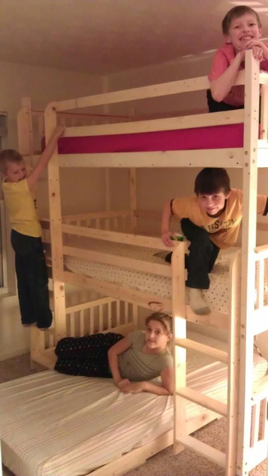 Triple Loft Bed My Husband Made For A Friend Love It Bunk Bed
