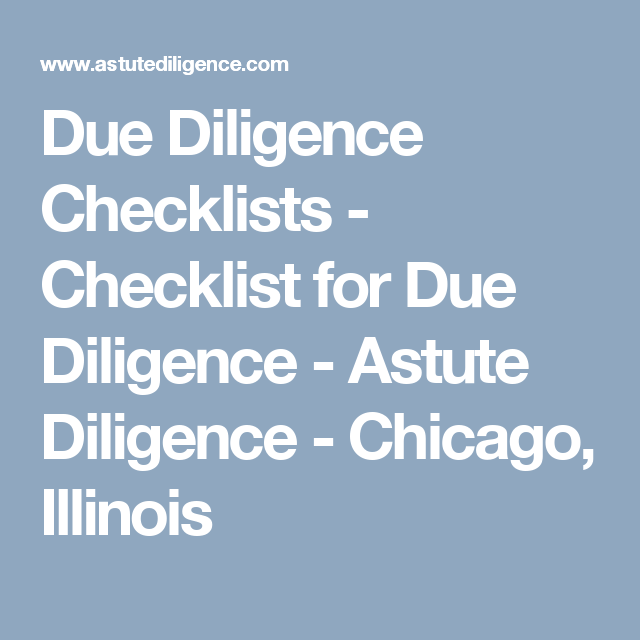 Due Diligence Checklists  Checklist For Due Diligence  Astute