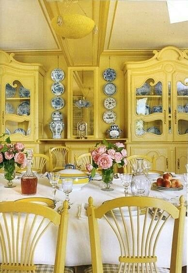 The House Of Claude Monet In Giverny. All The Dining Room Is Yellow.