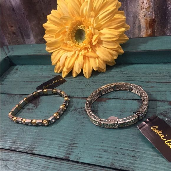 saleCookie Lee Stretch Bracelet Bundle NWT Cookie Lee 2 piece Stretch Bracelet Bundle NWT. These bracelets are super cute with the genuine crystals they both have. Thanks for looking. ❤️❤️❤️ Cookie Lee Jewelry Bracelets