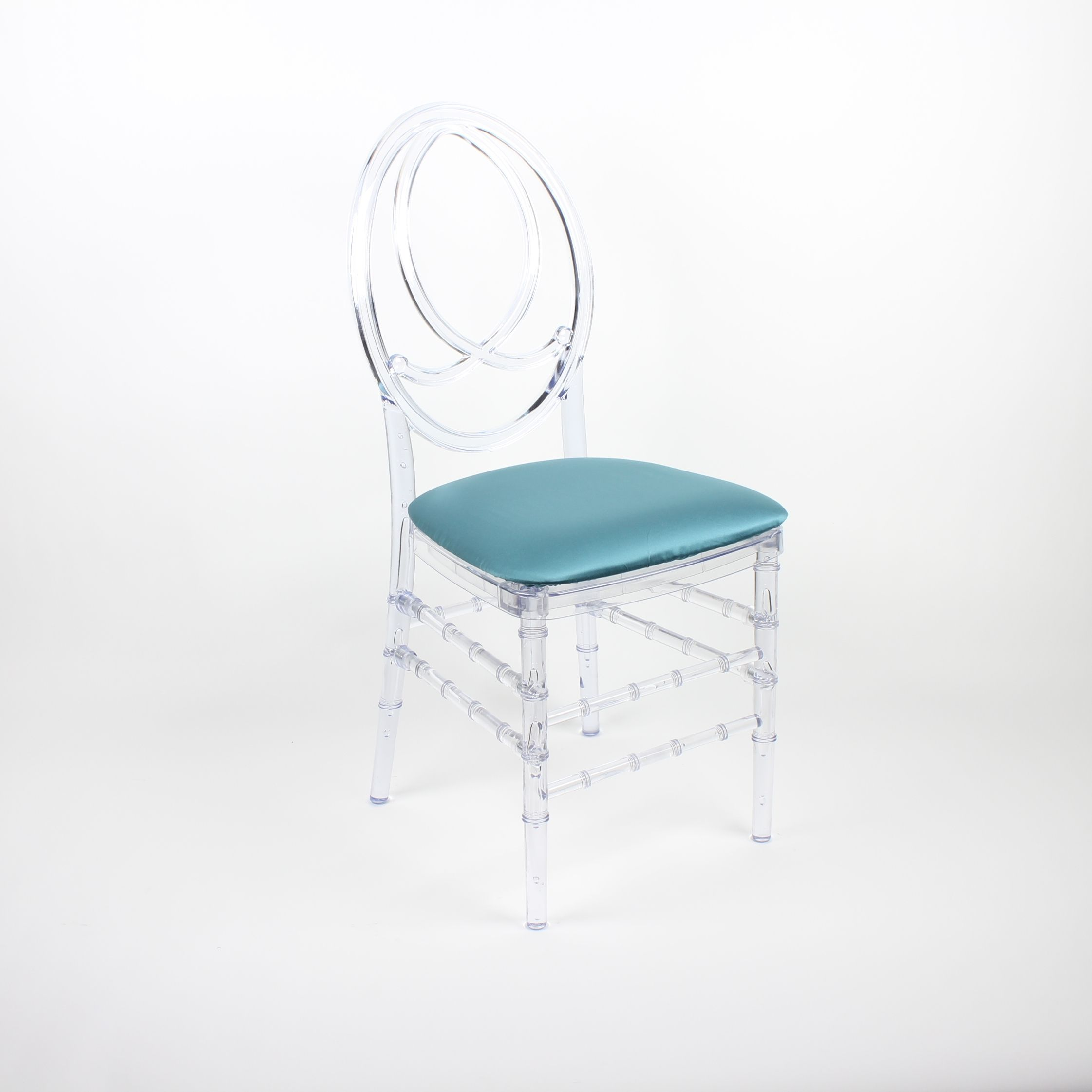 Clear Infinity Chair with Satin Teal Seat Pad