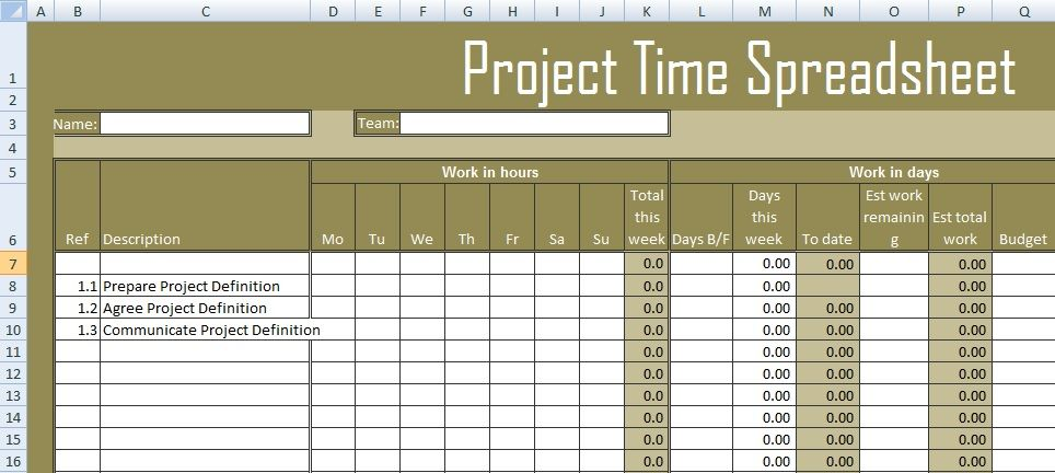 Get Project Time Spreadsheet Template Excel  Excel Spreadsheet