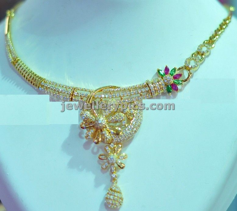Trendy designer gold necklace with white stones collection ...