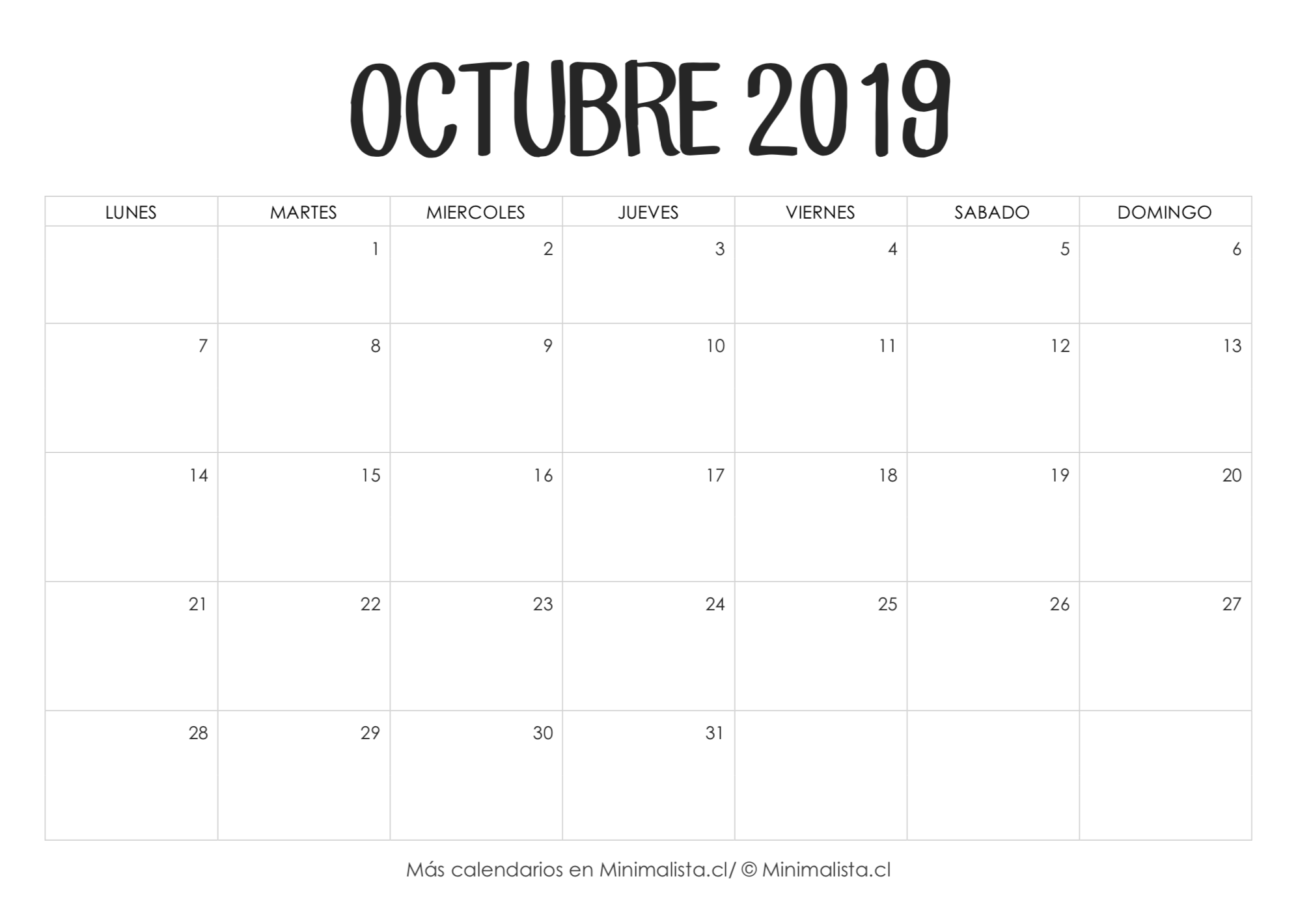 Calendario Mes De Octubre 2020 Para Imprimir.Calendario Octubre 2019 Para Imprimir Manualidades