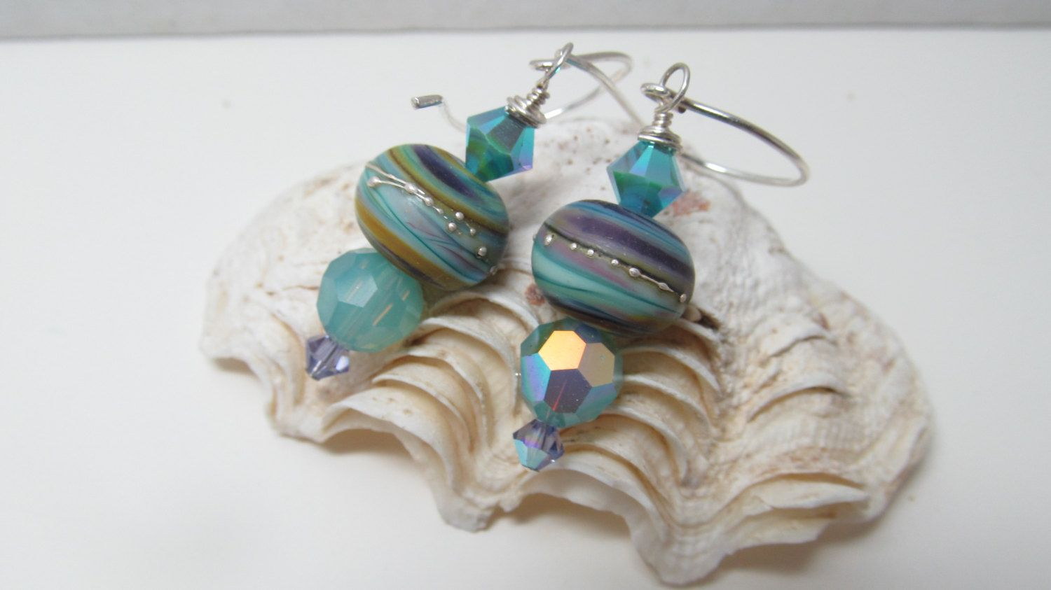 Etched Lamp Work Bead Earrings by imhere4roy on Etsy