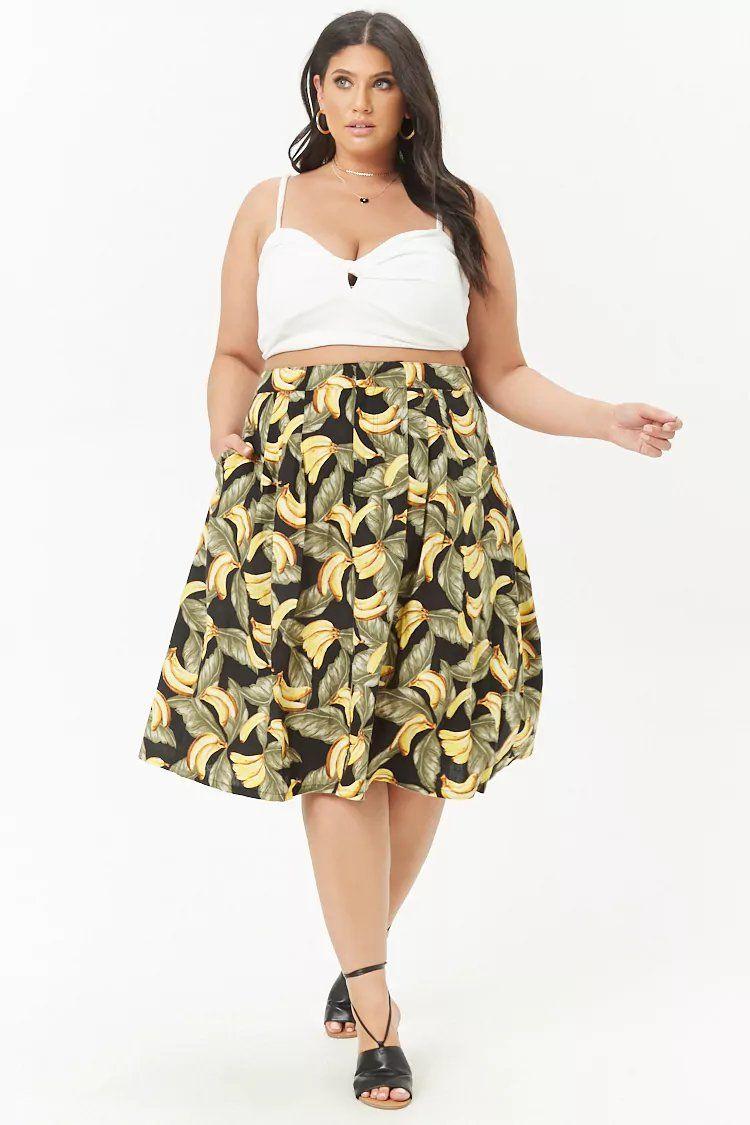 17fd46e308b7 Product Name:Plus Size Banana Print Skirt, Category:plus_size-main,  Price:24.9