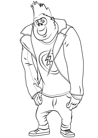 Johnny Gorilla From Sing Coloring Page Sing In 2019 Pinterest