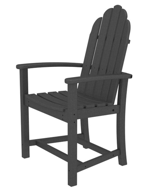 Polywood ADD200GY Classic Adirondack Dining Chair in Slate Grey