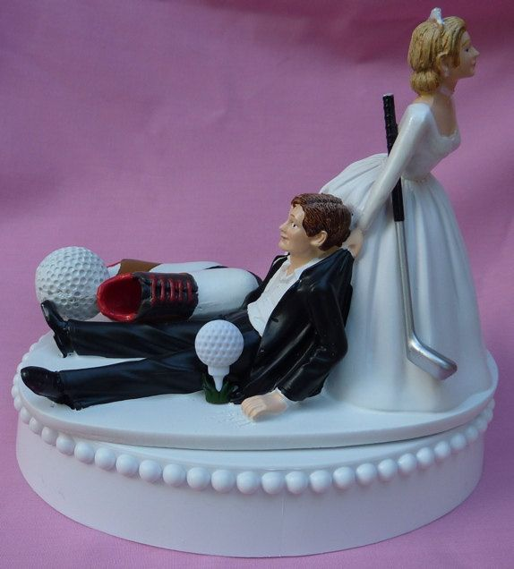 Wedding Cake Topper Golf Fan Golfing Groom Golfer Shoes Ball Club