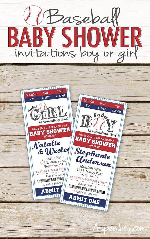 Baseball Baby Shower Invitations - Printable download - Baseball ...
