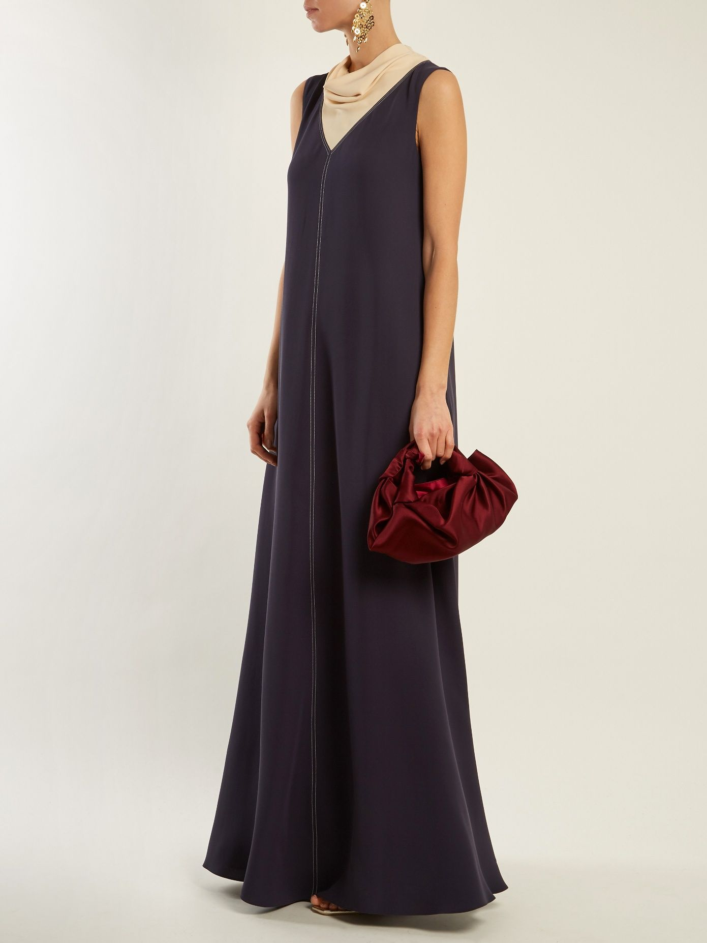 Cowl-neck contrast-stitch silk-cady gown Valentino