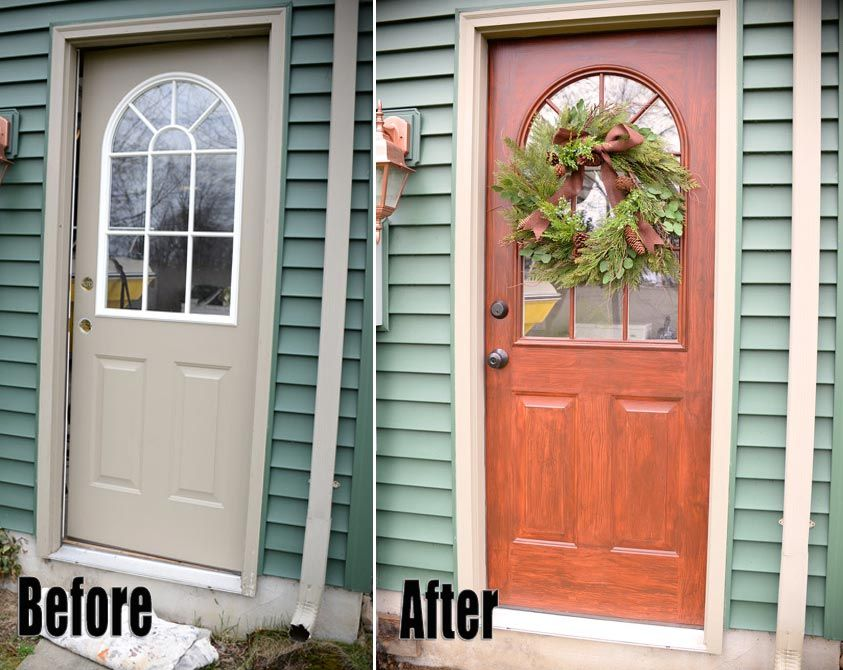 Thrifty Transformation How To Paint A Door Look Like Wood