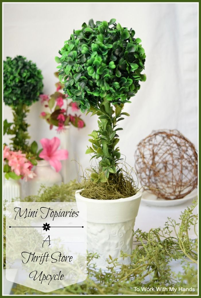 Mini Topiaries - a Thrift Store Upcycle #thriftstorefinds