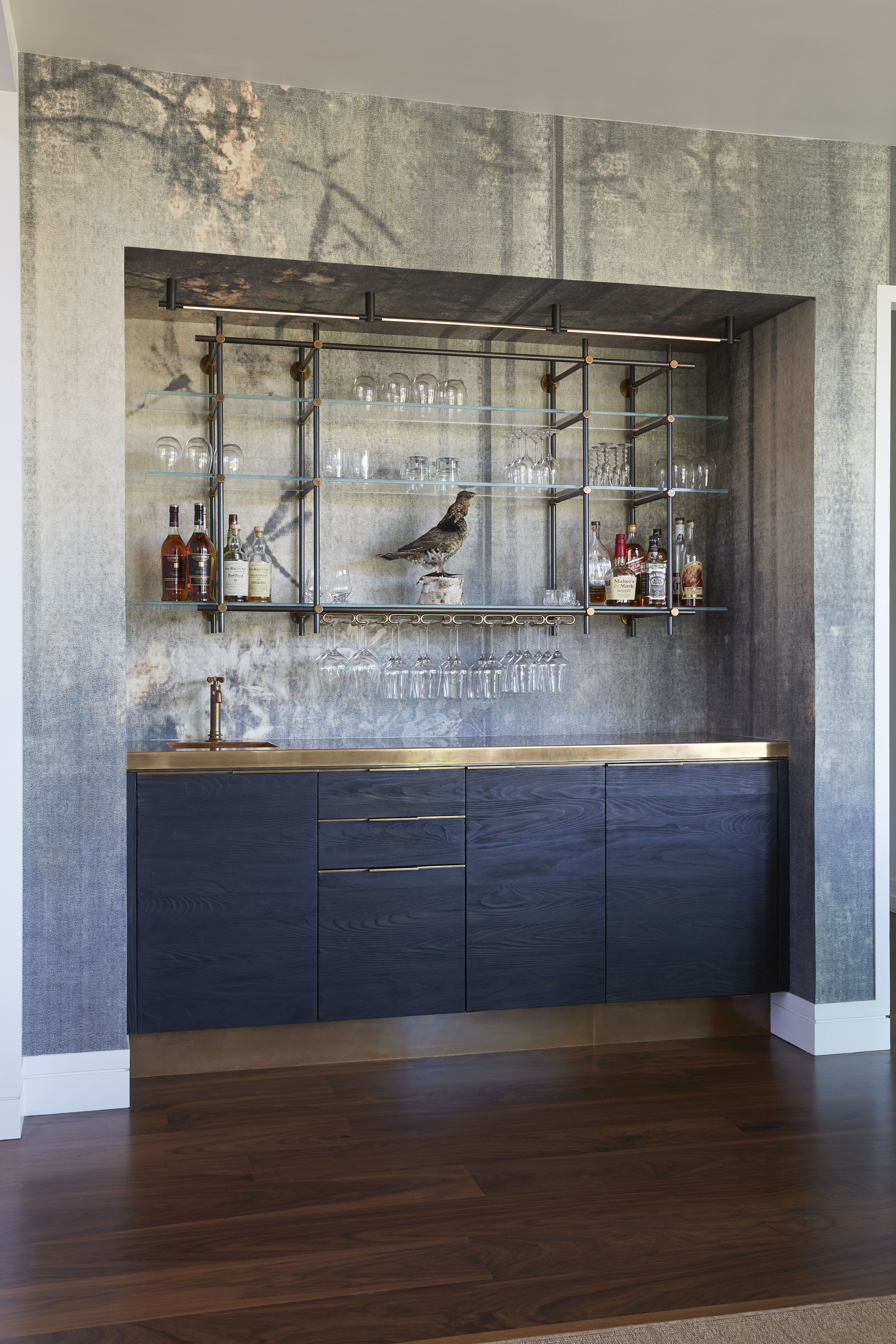 Charred Pine And Brass Bar With Hanging Collector S Shelving Unit