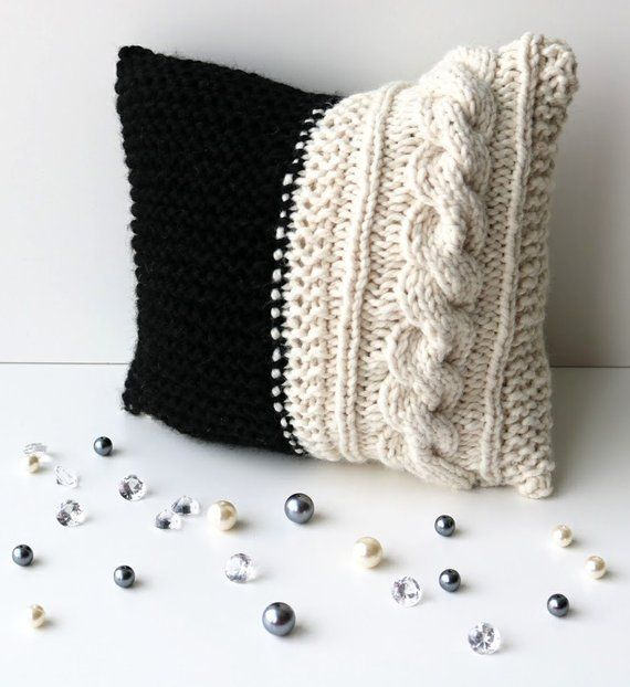 Cable Knit Decorative Throw Pillow In Textured Cable Pattern Handmade In Black And White Chunky Woo Throw Pillows Decorative Throw Pillows Pillows