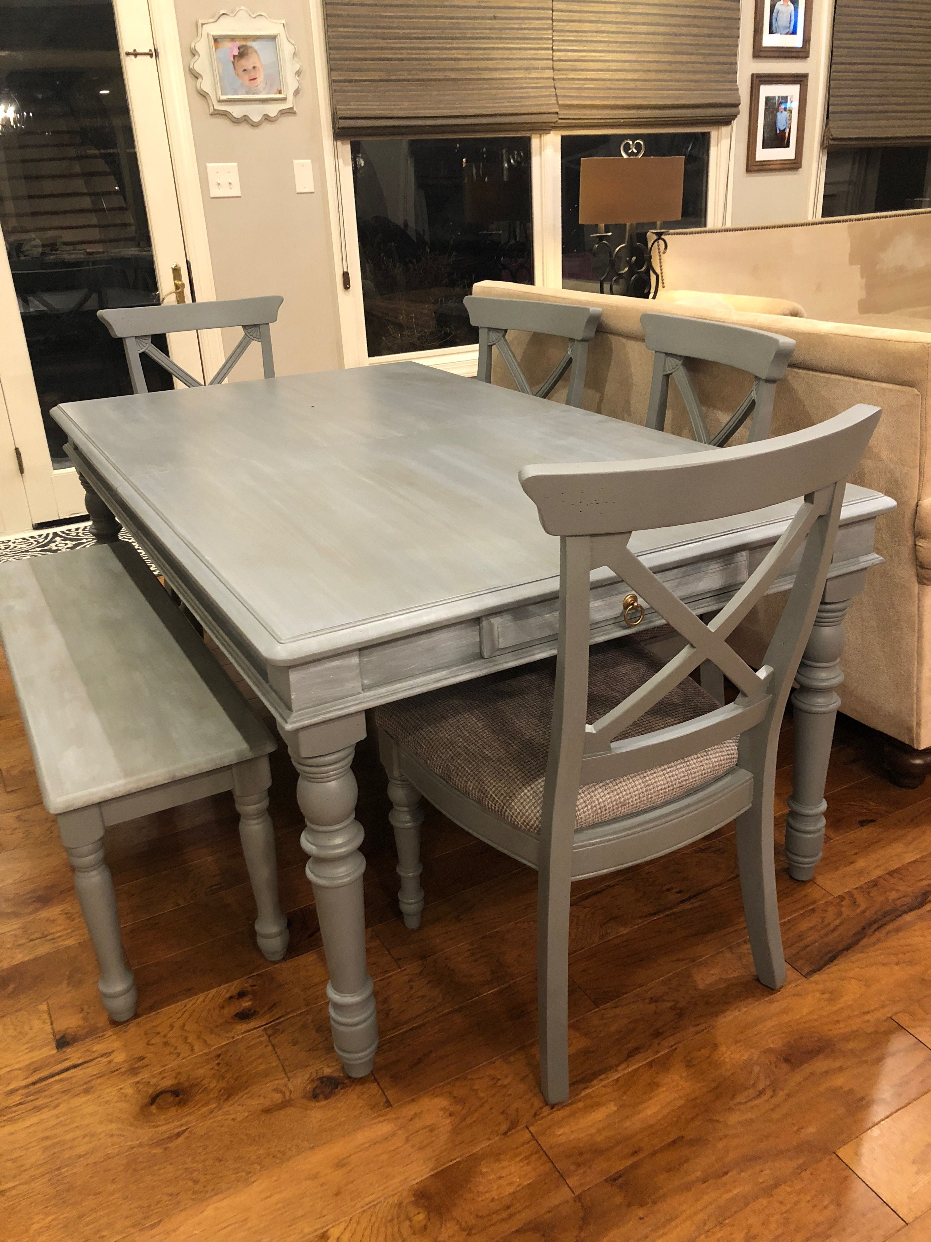 Chalk painted kitchen table and chairs