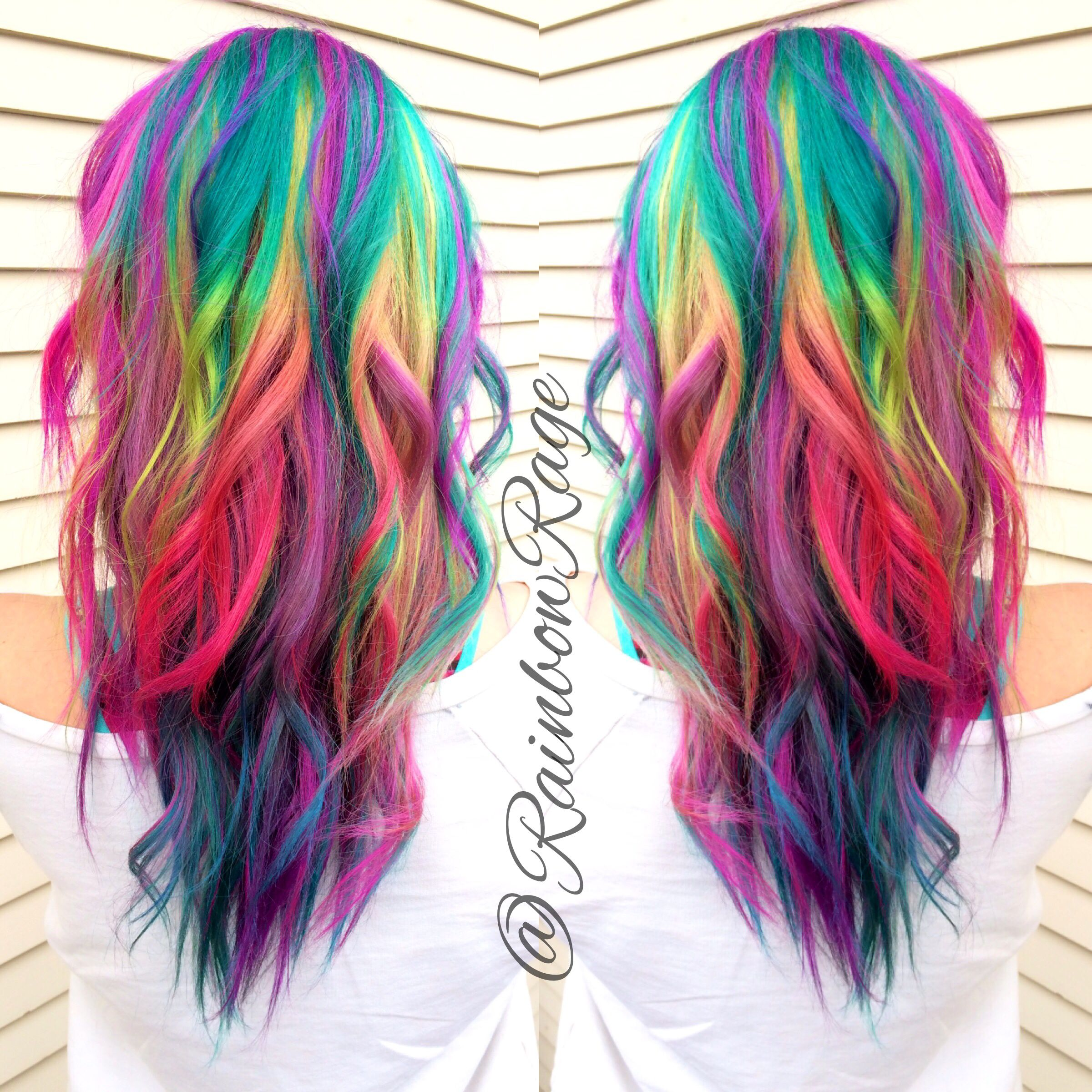 Pretty pastel rainbow ombr hair.
