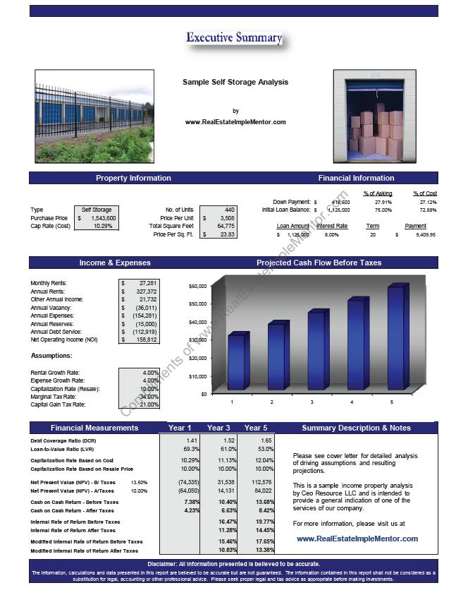 Free Sample Self Storage Real Estate Investment Analysis  Laura Staude  Flood Century 21 Crossroads