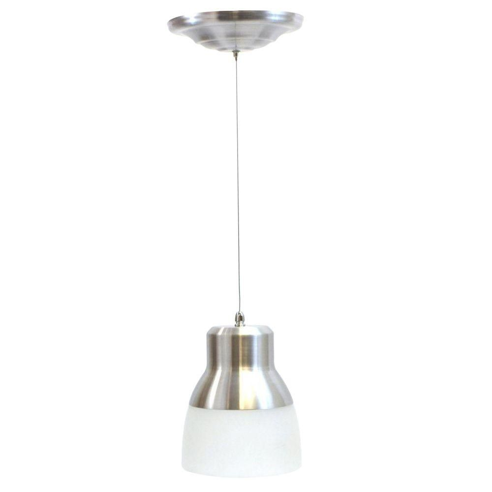 It S Exciting Lighting 24 Light Nickel 2 25 Watt Integrated Led Battery Operated Ceiling Pendant With Frosted Gl Shade