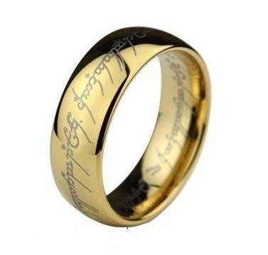 LORD OF THE RINGS LOTR UNISEX 18K Yellow GOLD GF The One RING R187  Comes in ring sizes 7 - 13