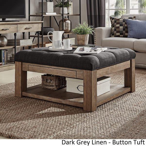 Lennon Pine Square Storage Ottoman Coffee Table by iNSPIRE Q Artisan ...