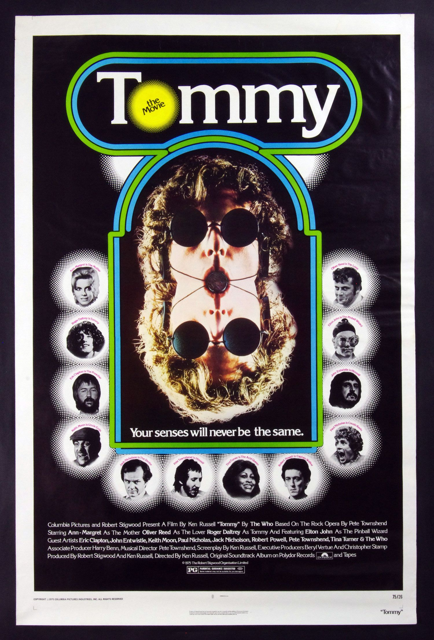 Tommy 1975 Movie Original Poster 27x41 Peter Townsand Eric Clapton Tina Turner Movie Posters Rock Opera Oliver Reed