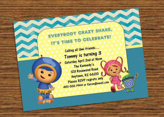 Birthday Invitation  Team Umizoomi  Boy  Digital by KraftyKansas, $12.00