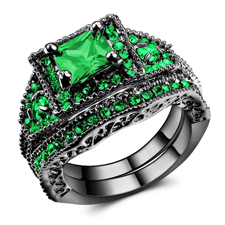 14K Black Gold Green Diamond Ring Engagement Ring Sets for