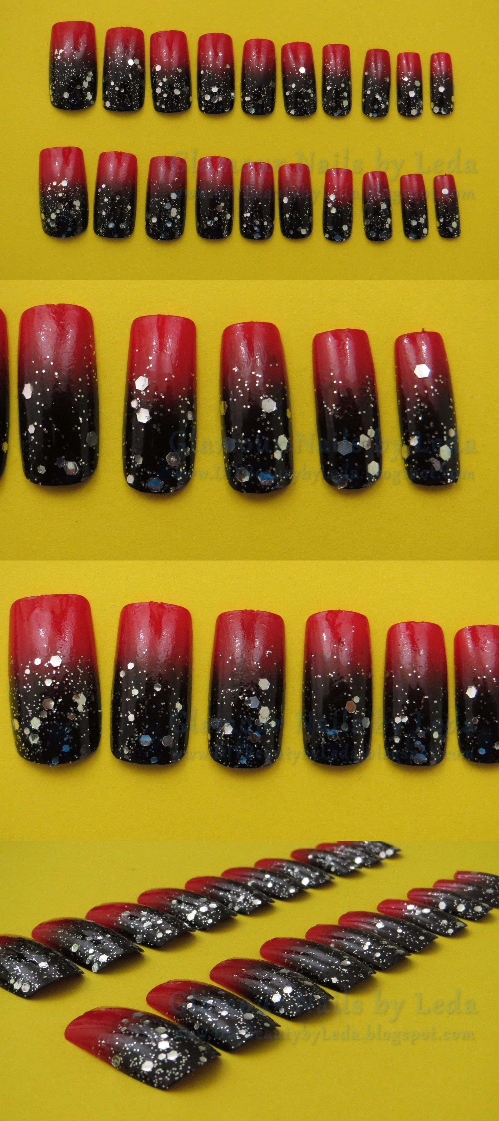Impress press on manicure nails my style pinterest - Artificial Nail Tips 20 Full Well Medium Square Nails Black To Red Ombre With Silver