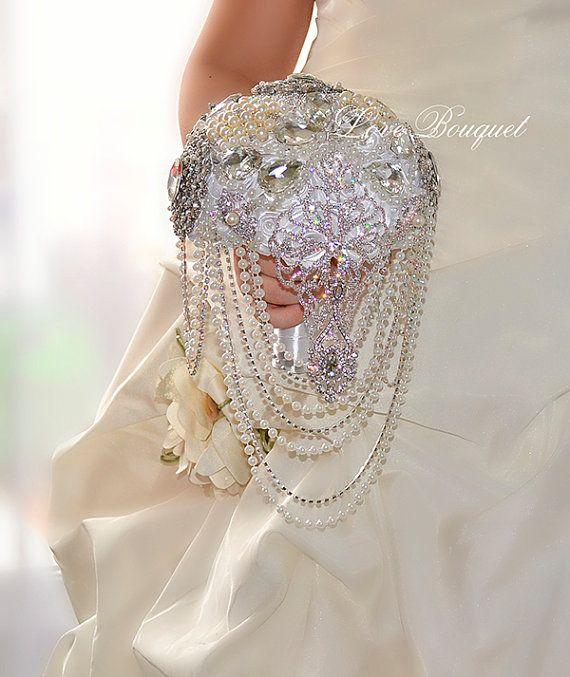 White Silver Wedding Brooch Bouquet Bridal Jewelry от LoveBouquet
