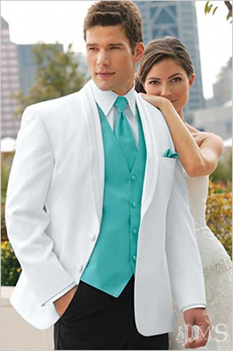 Teal Groom Suit | white-el-rey-2-button-satin-shawl-lapel-tuxedo ...